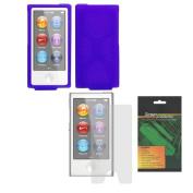 iShoppingdeals - Purple Soft Silicone Skin Cover Case and Anti-Glare Matte Screen Protector for Apple iPod Nano 7th Generation