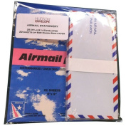 Authentic Airmail Stationery Set - 22 Onion Skin Paper Sheets (6 x 9) & 25 Envelopes