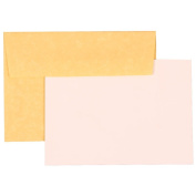 Personal Stationery Set - 25 Antique Gold Parchment Recycled 4Bar (3 5/8 x 5 1/8) Envelopes with 25 Stiff Flat Notecards