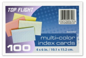 Top Flight Index Cards, Ruled, 10cm x 15cm , Rainbow Colours, 100 Cards per Pack