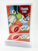 Boy Sports Thank You Note Card - 18 Boxed Cards & Envelopes