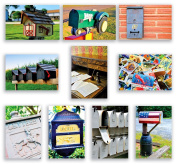 MAILBOX & POSTAL postcard set of 20. Post card variety pack with mail box and letter writing theme postcards. Made in USA.