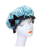Moolecole Fashion Women's Bow-knot Waterproof Double Layer Shower Cap Polka Dots Bathing Cap Spa Shower Hat Blue