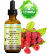 "Botanical Beauty Red Raspberry Seed Oil Organic. 100% Pure / Natural / Undiluted / Virgin / Unrefined Cold Pressed Carrier Oil. 2 Fl.oz.-60 ml. For Skin, Hair, Lip And Nail Care. ""One Of The Highest Anti-Oxidant, Rich In Vitamin A And E, Omega 3, 6 And .."