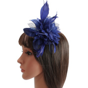 Navy Flower Fascinator Wedding Races Prom Party Feathers