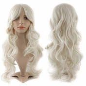 S-noilite Fashion Curly Anime Full Wig White Hair Wig Kanekalon Heat Resistant Synthetic Women Lady Girl Costume Wigs Fancy Dress Royal Mail Post