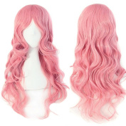 S-noilite Fashion Curly Anime Full Wig Pink Hair Wig Kanekalon Heat Resistant Synthetic Women Lady Girl Costume Wigs Fancy Dress Royal Mail Post