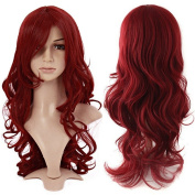 S-noilite Fashion Curly Anime Full Wig Wine Red Hair Wig Kanekalon Heat Resistant Synthetic Women Lady Girl Costume Wigs Fancy Dress Royal Mail Post