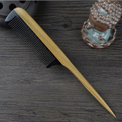 Meta-C Black Buffalo Horn Hair Pin Tail Comb with Sandalwood Round Handle