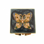 Bridesmaid Gift/ Enamel & Crystal Butterfly Compact Mirror/Makeup Mirror/Mother of Bride Gift