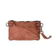 Woman's large clutch bag leather shoulder and wrist strap DUDU Onyx Brown