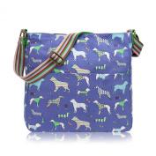 Blue Canvas Shoulder Bag, Dog Print Across body Bag, Dachshund Dogs Cross Body Handbag
