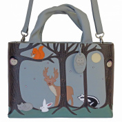CICCIA FOREST FRIENDS DUCK EGG BLUE LEATHER GRAB BAG SHOULDER BAG