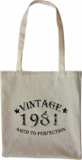 Mister Merchandise Tote Bag Vintage 1981 - Aged to Perfection 34 35 Shopper Shopping , Colour