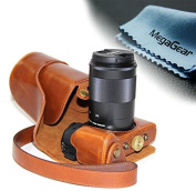 """MegaGear """"Ever Ready"""" Protective Leather Camera Case, Bag for Canon EOS M3 with 18-55mm DSLR Camera"""