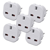 TB1 Products Travel Adapter - UK to EU Euro European adapter White lug 2 Pin - Pack of 5