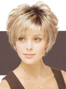 HI GIRL! Glamorous Short Blonde with Brown Hair Wigs For Women WG16