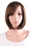 MapofBeauty Light Brown Flax Black Short Wigs Straight Wigs