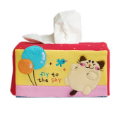 [Cat & Balloon] Embroidered Applique Fabric Art Tissue Box Cover Holder