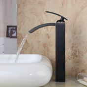 Hiendure® Deck Mount Single Handle Oil Rubbed Centerset Square Widespread Waterfall Bathroom Vessel Sink Faucet