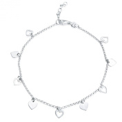 925 Sterling Silver Ankle Chain with Hearts - Variable Length 22cm to 25cm