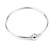 Silver Plated Bangle with Secure Clasp can add Beads and Charms