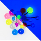 Glow Belly Button Barbell 10 Pack - 14ga 316L Steel Barbell UV Glow in the Dark