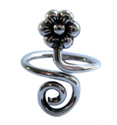 Sterling Silver 925 Adjustable Spiral And Flower Toe Ring