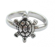 Sterling Silver 925 Adjustable Turtle Toe Ring