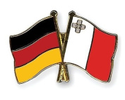 Germany & Malta Friendship Flags Gold Plated Enamel Lapel Pin Badge