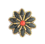 Brooch Flower Daisy Small Porcelain Red and Black Glass Beads-Costume Jewellery