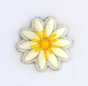 Brooch Flower Daisy Small Yellow and White Porcelain and Glass Beads-Costume Jewellery