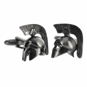 Brushed Finish Greek Warrior Helmet Cufflinks in Gift Box