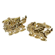 Gold Plated Welsh Dragon Cufflinks Patriotic Wales Cuff Links Brand New