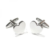 Silver Heart Shaped Engravable Cufflinks Ready To Engrave Cuff Links Gift New