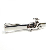 Silver Scooter Bike Tie Clip Moped Bike Rhodium Plated Bar Pin Executive New