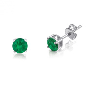Kezef 1/4 TCW Basket Set Stud Earrings with Round 3mm Genuine Emerald - 925 Rhodium Plated