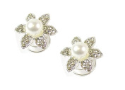 2 Silver Crystal Diamante Pearl Flower Hair Twists Swirls Pins Spirals Wedding Bridal Bridesmaid Jewellery - 2cm Dia