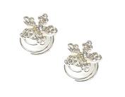 2 Silver Crystal Diamante Flower Hair Twists Swirls Pins Spirals Wedding Bridal Bridesmaid Accessories Jewellery - 1.5cm Dia