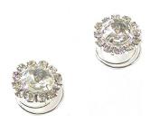 2 Silver Crystal Diamante Round Hair Twists Swirls Pins Spirals Wedding Bridal Bridesmaid Accessories - 1.4cm Dia
