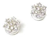 2 Silver Crystal Diamante Hair Twists Swirls Pins Spring Spirals Flower Wedding Bridal Accessories - 1.6cm Dia