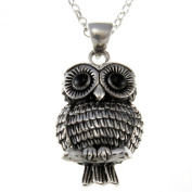 Sterling Silver Owl Pendant Necklace With 46cm Chain