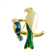 Qute Mother And Baby Parrot Bird Brooch Pin Crafted In Gold Plated Metal And Blue Green Enamel By Mytoptrendz
