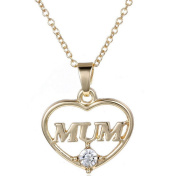 Popbop Specail Mum Gift Jewellery Gold heart Plated Pendent Necklace