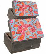 Set of Two Aged Look Hinged Wooden Vintage Boxes with Faded Indian Style Paisley Print in Red and Blue