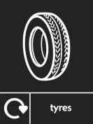 TYRES RECYCLING SIGN - Self adhesive vinyl 200mm x 300mm