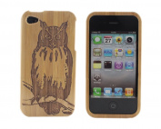 BONAMART ® Owl Bamboo Wood Case for iPhone 4 4G 4S Natural Wooden Hard Cover