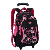 Cute Lovely Boys Girls Waterproof Nylon School Backpack Kids Travelling Bags Hiking Shoulder Bags With Removable Wheeled Trolley Hand For Pupils Primary Students