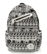 Canvas Printing Backpack Teenage Girls Boys School Bag for 36cm - 38cm Laptop PC A4 Magazine iPad (Black