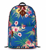 Fresh Floral Pattern School Bag Womens Girls Canvas Travel Rucksack